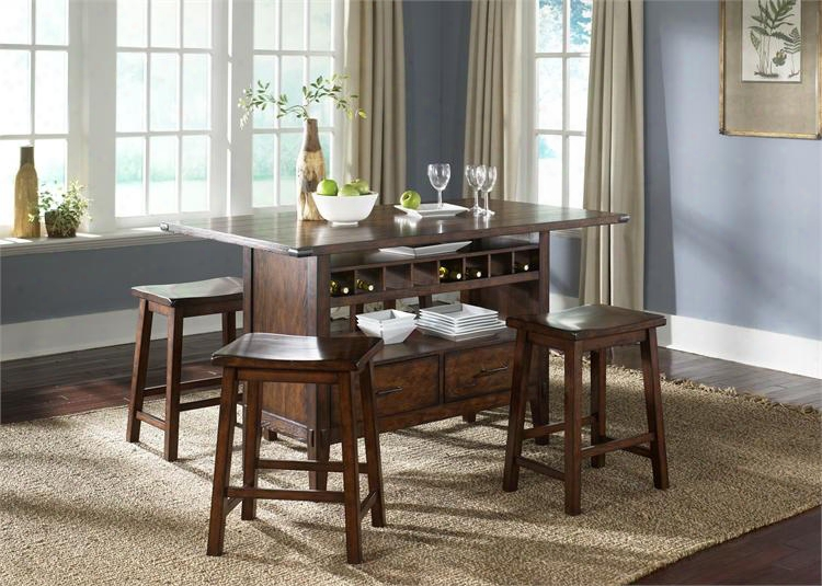 Cabin Fever Collection 121-dr-5pcs 5-piece Dining Room Set With Center Island Table And 4 Saworse Barstools In Bistro Brown