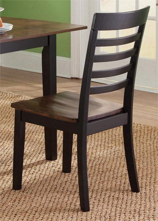 """Cafe Collection 56-c160-rta 38"""" Side Chair With Slat Back Nylon Chair Glides And Two Tone Finish In Black And Cherry"""