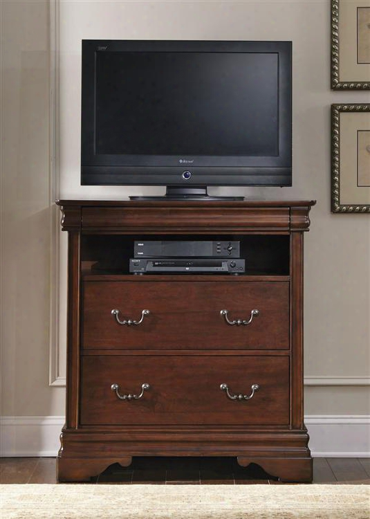 """Carriage Court Collection 709-br45 38"""" Media Chest With 3 Drawers Hidden Top Drawer Full Extension Glides And Bottom Case Dust Proofing  In Mahogany Stain"""