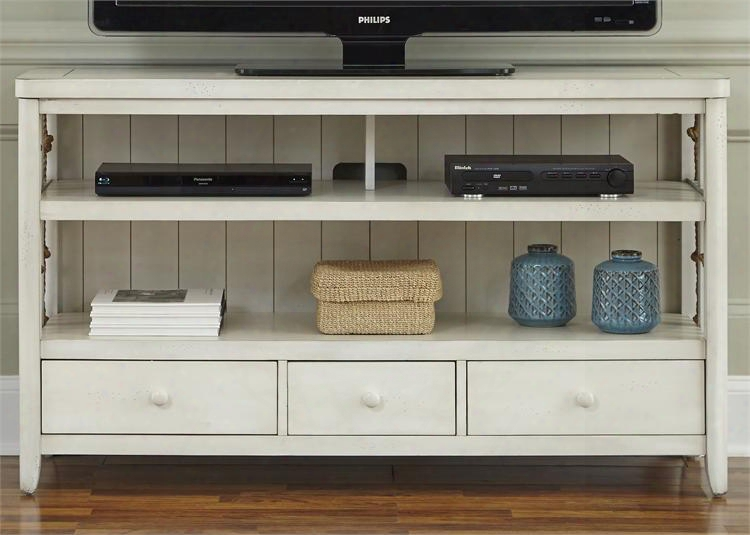 """Dockside Ii Collection 469-tv55 55"""" Tv Stand With Open Shelf 3 Drawers And Knotted Rope Accents In White"""