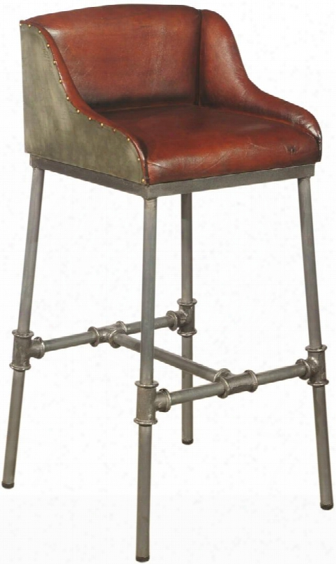 Ds-p006044 Brandon Industrial Barstool With Leather Seat And Back Industrial Pipe Fitting Design And Aluminum Sheet Wrapped In