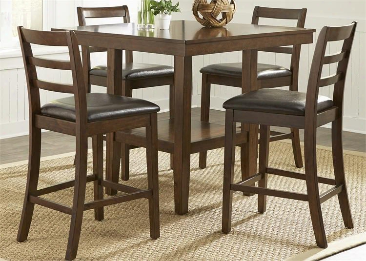 Hampton Collection 32-cd-5gts 5-piece Gathering Table Set With Gathering Table And 4 Counter Height Chairs In Rsuset