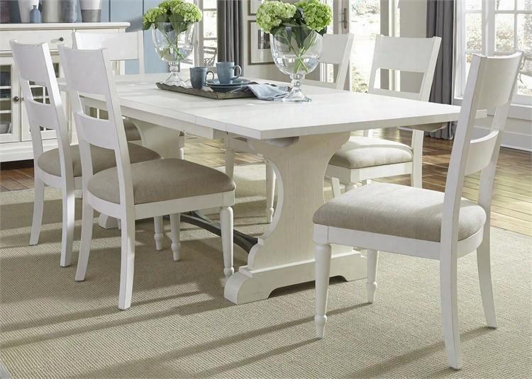 Harbor View Ii Collection 631-dr-7trs 7-piece Dining Room Set With Trestle Table And 6 Slat Back Side Hairs In Linen