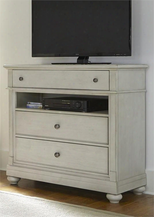 """Harbor View Iii Collection 731-br45 42"""" Media Chest With 3 Drawers Media Compartment Full Extension Metal Side Drawer Glides And French & English Dovetail"""