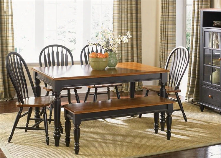 Low Country Collection 80-cd-6rts 6-piece Dining Room Set With Rectangular Table Bench And 4 Windsor Back Side Chairs In Anchor Black Finish With Suntan
