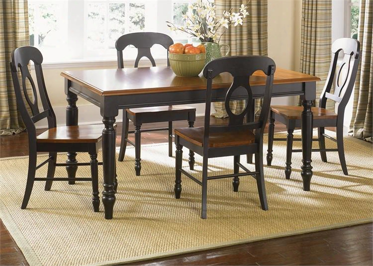 Low Country Collection 80-cd-o5rls 5-piece Dining Room Set With Rectangular Table And 4 Napoleon Back Side Chairs In Anchor Black Finish With Suntan