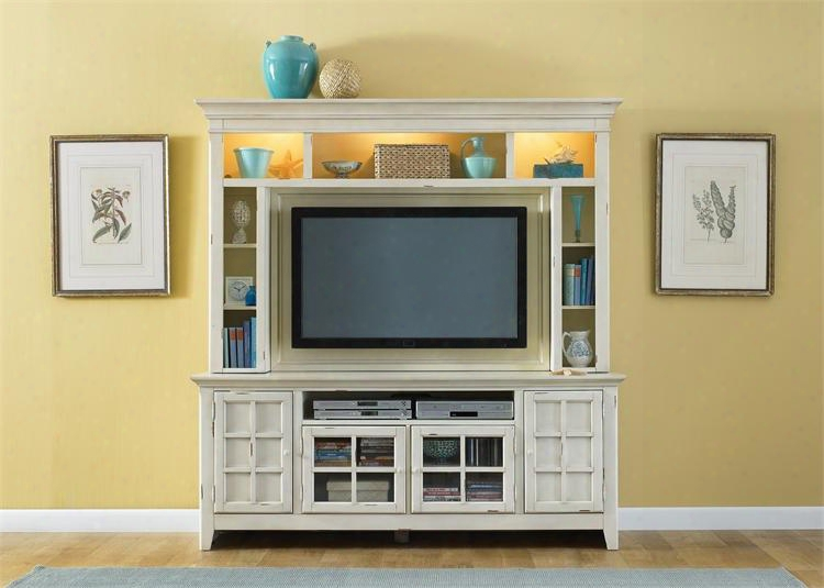 "New Generation Collection 840-ent-enc 2-piece Entertainment Center With 75"" Tv Stand And Mountable Hutch In Cream"