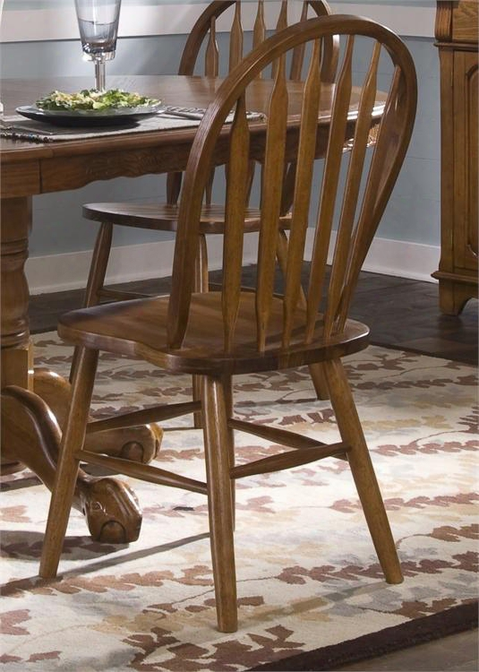 """Nostalgia Collection 10-c553s 39"""" Arrow Back Windsor Side Chair With Windsor Back Saddle Shaped Seating And Nylon Chair Glides In Medium Oak"""