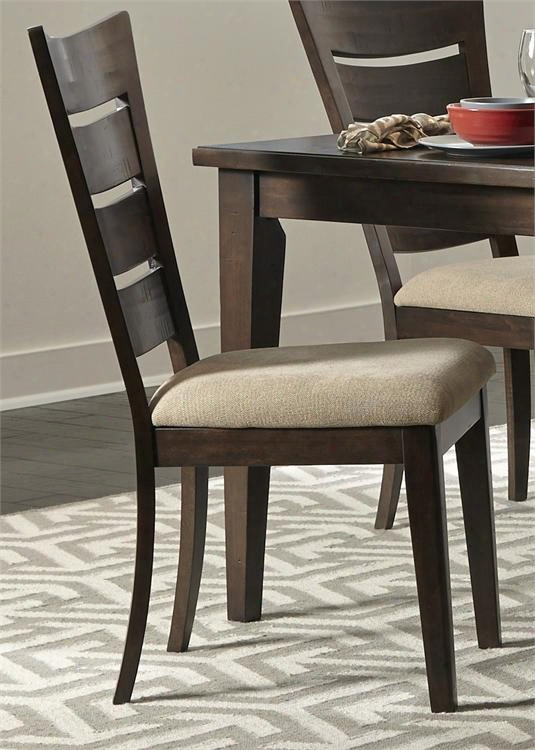 """Pebble Creek Ii Collection 476-c2001s 39"""" Side Chair With Nubby Linen Upholstery Ladder Back And Nylon Chair Glides In Weathered Tobacco"""
