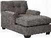 """Alsen Collection 7390115 39"""" Chaise with Fabric Upholstery Tufted Back Pipe Stitching Details and Flared Armrests in"""