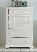 "Summer House I Collection 607-BR41 38"" Chest with 5 Drawers Bead Molding and Bun Feet in Oyster White"