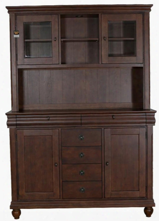 "Rustic Traditionn Collection 589-dr-sh 58"" Server & Hutch With 6 Drawers Touch Lighted Hutch And Adjustable Shelves In Rustic Cherry"