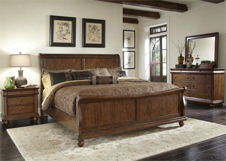 Rustic Traditions Collection 589-br-ksldmn 4-piece Bedroom Set With King Sleigh Bed Dresser Mirror And Night Stand In Rustic Cherry