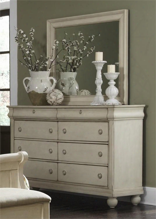 Rustic Traditions Ii Collection 689-br-dm 2-piece Bedroom Set With Dresser And Mirror In Rustic White