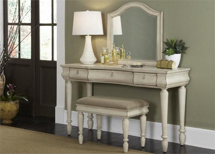 """Rutsic Traditions Ii Collection 689-br-vn 52"""" Vanity With Mirror And Bench In Rustic White"""