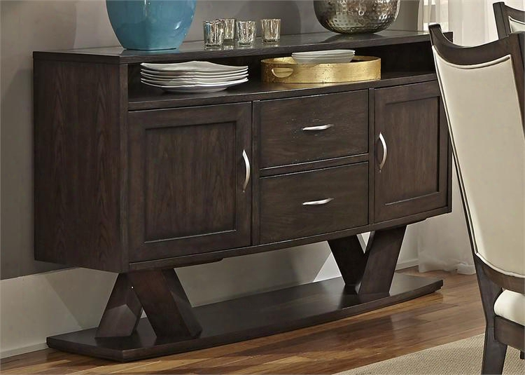 """Southpark Collection 623-sr5636 56"""" Server With Pedestal Base 2 Drawers And 2 Doors In Cappuccino"""