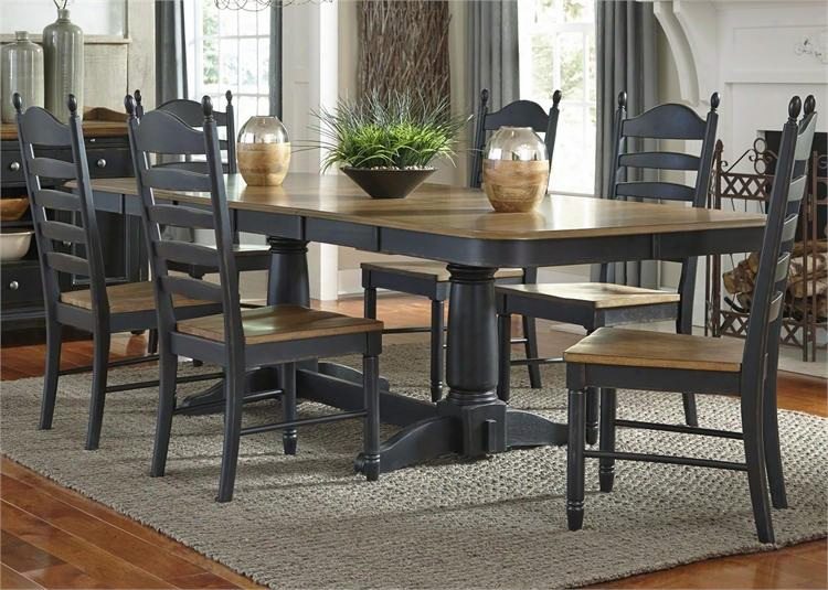 Springfield Ii Collection 678-cd-72ps 7-piece Dining Room Set With Double Pedestal Table And 6 Side Chairs In Honey & Black