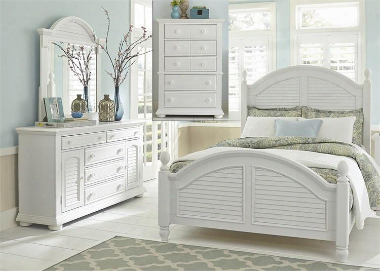 Summer House I Collection 607-br-qpsdmc 4-piece Bedroom Set With Queen Poster Bed Dresser Mirror And Chest In Oyster White