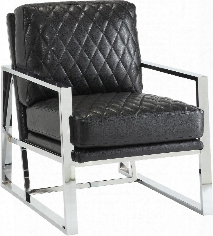 """Accent Seating 900622 35"""" Accent Chair With Quilt Stitched Back Chrome Construction Harlequin Pattern And Leatherette Upholstery In Black"""