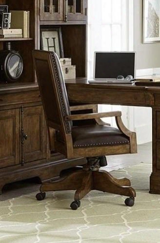 "American Attitude 8854925 27"" Desk Chair With Casters Adjustable Pedestal Seating Height Oak Veneers And Hardwood Solids In Medium Wood"