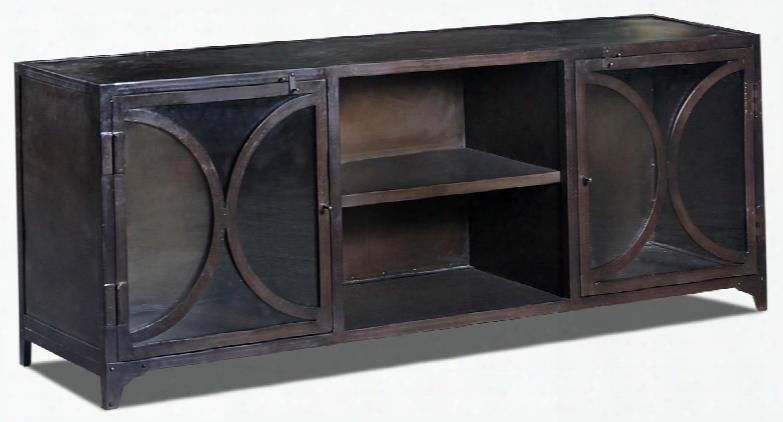 """Aurecka 13480 63"""" Two-door Console Table With One Fixed Shelf And Two Door Metal Cabinet In Dark"""