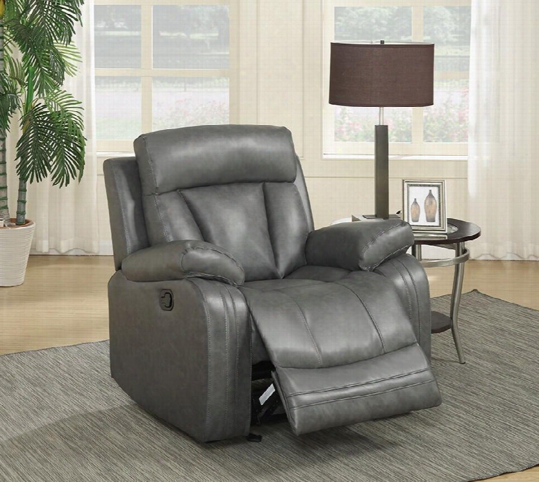 """Avery 645gry-c 39"""" Recliner With Top Quality Bonded Leather Upholstery Rocker Reclining And Removable Backs In"""