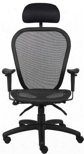 """B6018-hr 40"""" Multi Function Mesh Chair With Headrest 3 Paddle Multi-function Padded Frame Adjustable Height Seat Tilt Lock And Back Angle Locks In"""