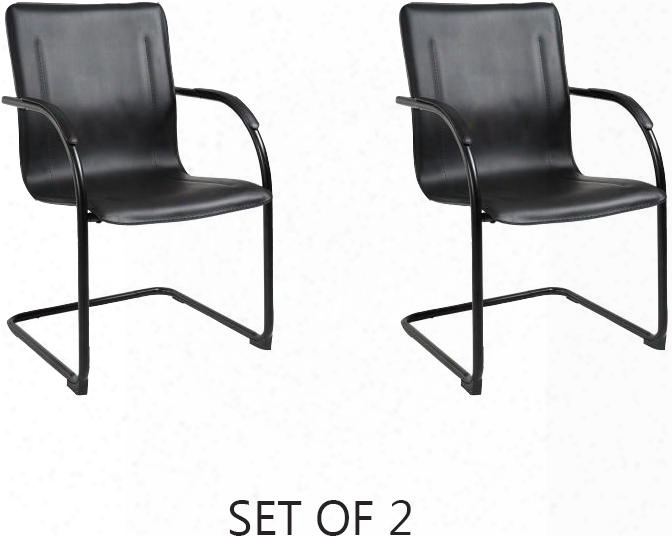 """B95355-2 Set Of 2 36"""" Mid-back Guest Chair With Black Fistular Steel Frame Contoured Back And Padded Foam On Seat And Back In Black Vinyl"""