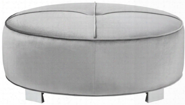 """Caldwell 505884 41.75"""" Ottoman With Pocket Coil Seat Button Tufted Seat Chrome Legs Sinuous Spring Base And Velvet Upholstery In Silver"""