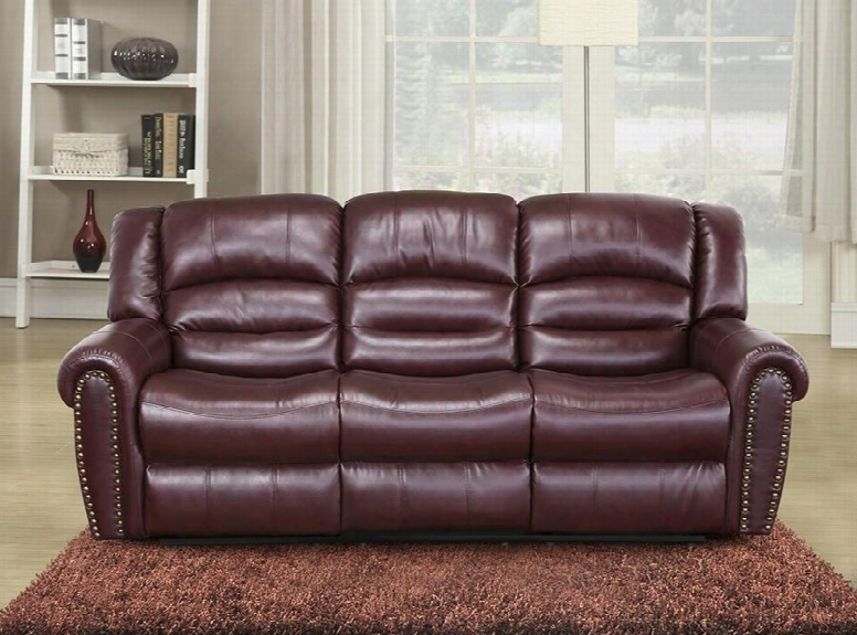 """Chelesa 686-s 85"""" Rocker Reclining Sofa With Top Quality Bonded Leather Upholstery Nail Head Design And Removable Backs In"""