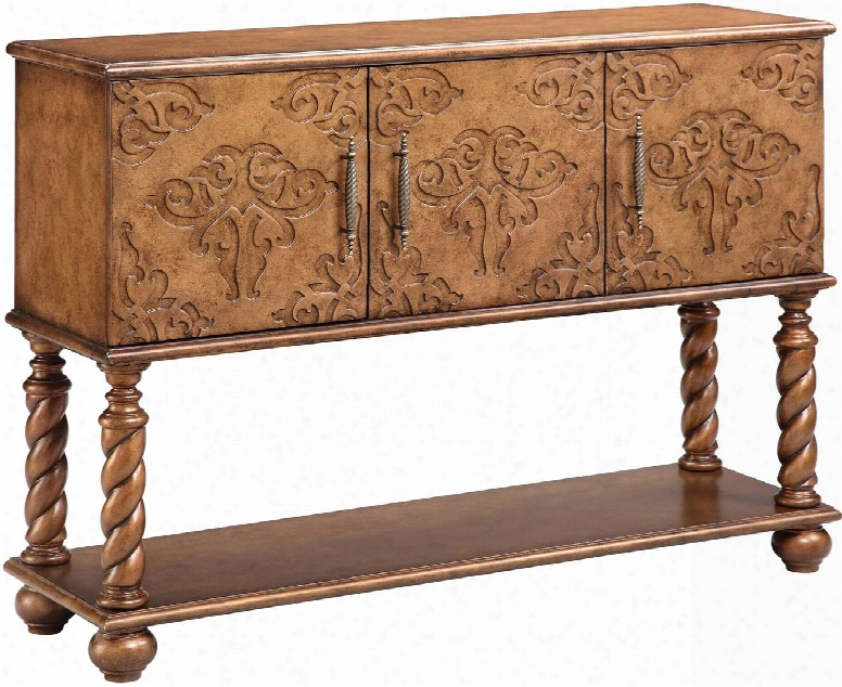 "Corvallis 13191 47.9"" 3-door Console With 3 Adjustable Shelves Hand Painted And Wire Management In"