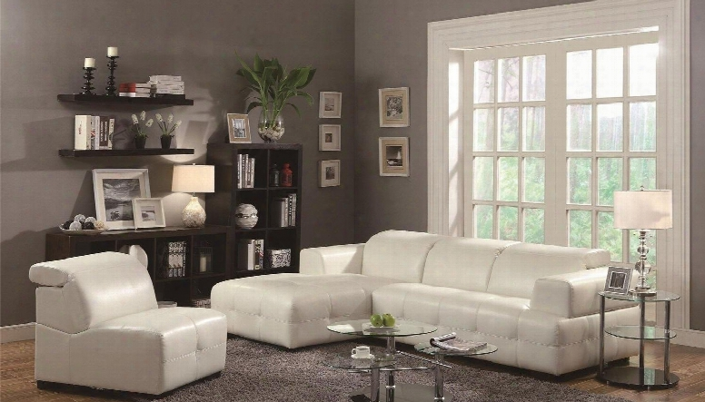 Darby 503617sac 2 Pc Living Room Set With Sectional Sofa + Armless Chair In White