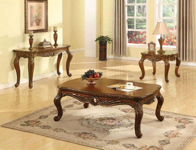 Dorothea 80590ces 3 Pc Living Room Table Set With Coffee Table + End Table + Sofa Table In Cherry