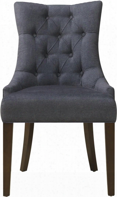 Ds-2514-900-343 24 Dining Chair With Button Tufting Andd Taperee Legs In Darkwash