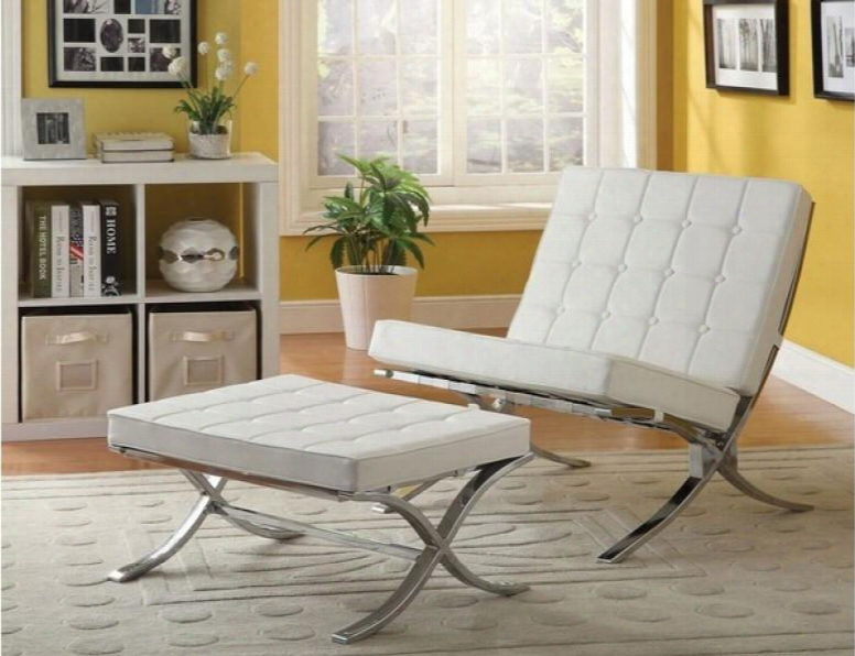 Elian 96374co 2 Pc Living Room Set With Accent Chair + Ottoman In Ivory Pu And Chrome