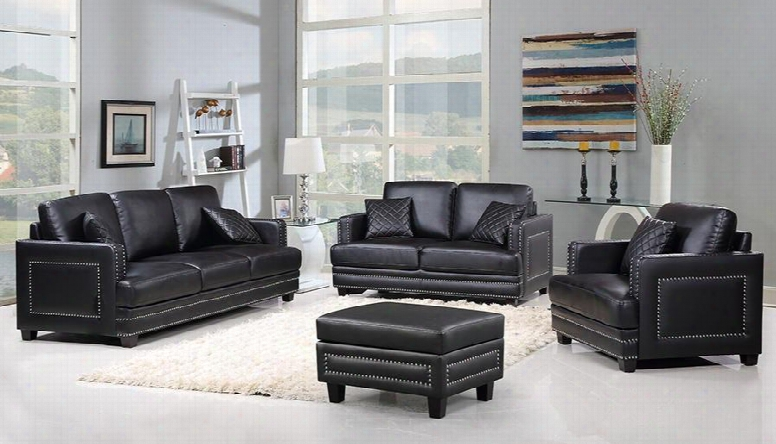 Ferrara Collection 654-bl-s-l-c-o 4 Piece Living Room Set With Sofa + Loveseat + Chair And Ottoman In