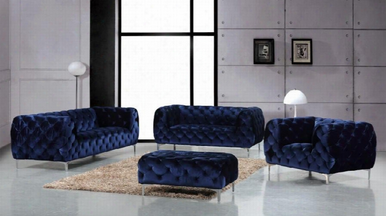 Mercer Collection 646-navy-s-l-c-o 4 Piece Living Room Set With Sofa + Loveseat + Chair And Ottoman In