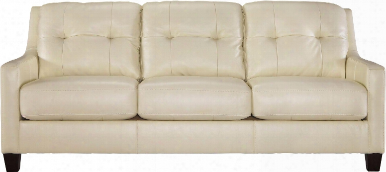 "O'kean 5910238 86"" Stationary Sofa With Leather Match Upholstery Tufted Back Cushions And Loose Seat Cushions In"