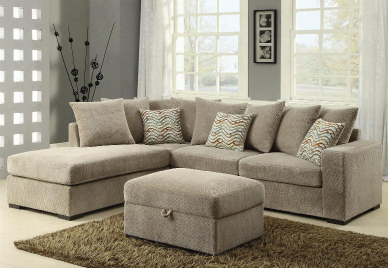Olson 500044so 2 Pc Living Room Set With Reversible Sectional Sofa + Ottoman In Taupe