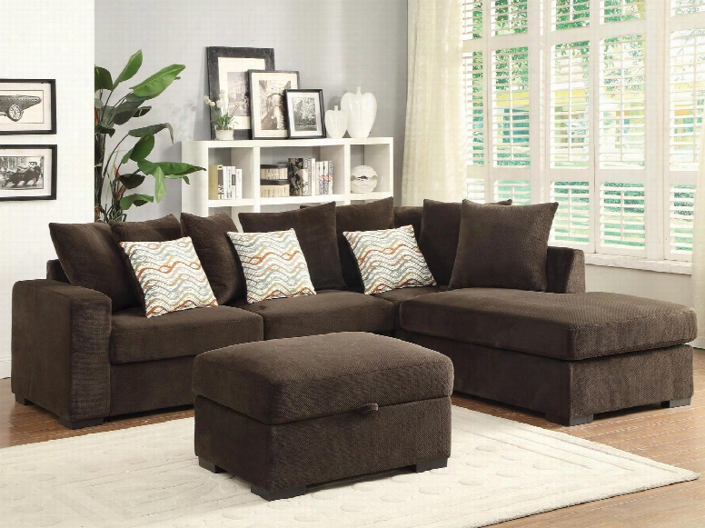 Olson 500086so 2 Pc Living Room Set With Sectional Sofa + Ottoman In Chocolate