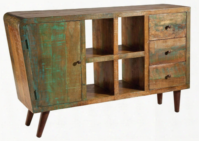 """Orbit 12965 59"""" 1-door 3-drawer Console With Open Storage Hand Painted And Rustic Knob Hardware In"""