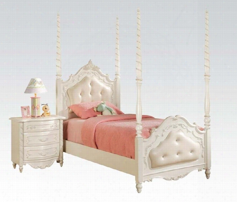 Pearl 11000tn 2 Pc Bedroom Set With Twin Bed + Nightstand In Pearl White