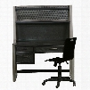 Graphite 8942414DHC 3 PC Set with Desk + Hutch + Chair with Ash Veneers and Hardwood Solids Material in Black
