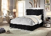 Hampton HAMPTON-BLACK-K King Size Bed with Chromeo Naiheads Quilted Design and Full Slats in Black
