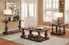Hanson 81605CES 3 PC Living Room Table Set with Coffee Table + End Table + Sofa Table in Salvage Brown