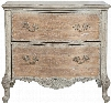 "P017039 38"" Monaco Distressed Curved Front Accent Drawer Chest Including Two Drawers with Decorative Hardware Carved Detailing and Cabriole Legs in Natural"