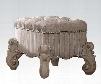 "Versailles 21138 22"" Vanity Stool with European Design Nail Head Trim Carved Scrollwork Metal Accents Fabric Seat Upholstery in Bone White Veneer"