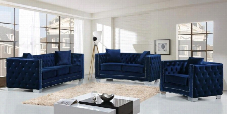 Reese Collection 648-navy-s-l-c 3 Piece Living Room Set With Sofa + Loveseat And Chair In