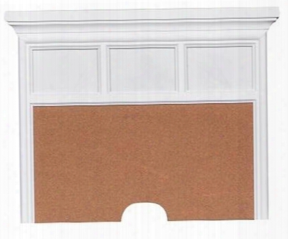 """Summertime 8466451 24"""" Nightstand Back Panel With 3 Photo Frames Wire Management Cutout Corkboard Selected Veneers And Hardwood Solids In White"""