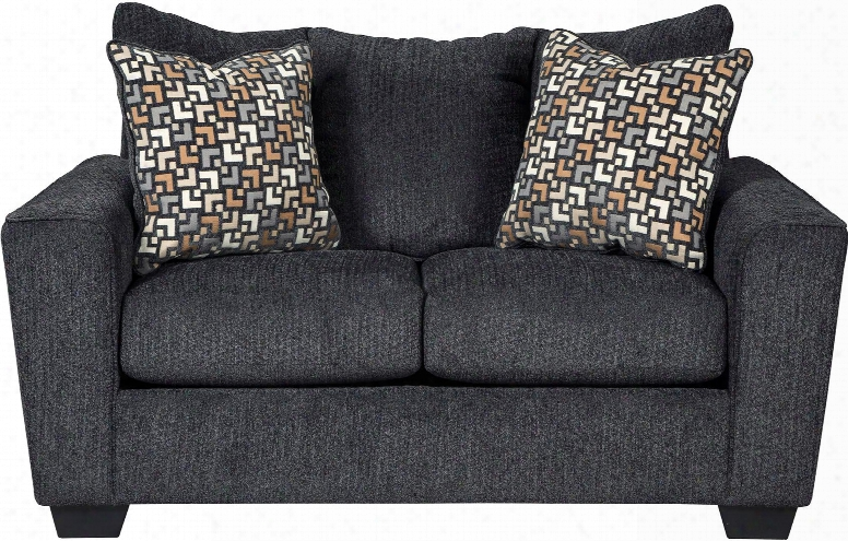 """Wixon 5700235 65"""" Stationary Fabric Loveseat With Flared Track Arms Loose Seat Cushions And Pillows Included In Slate"""